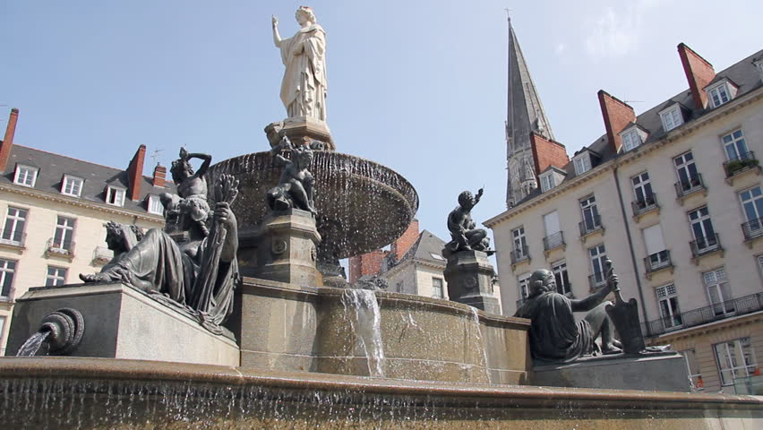 Fountain in the center of Nantes in France