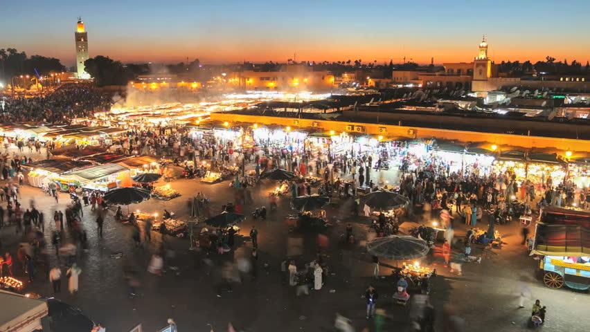 Djemaa el fna in the evening, marrakech, morocco