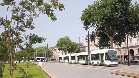 Ecological public transport, tramway in Nantes, France