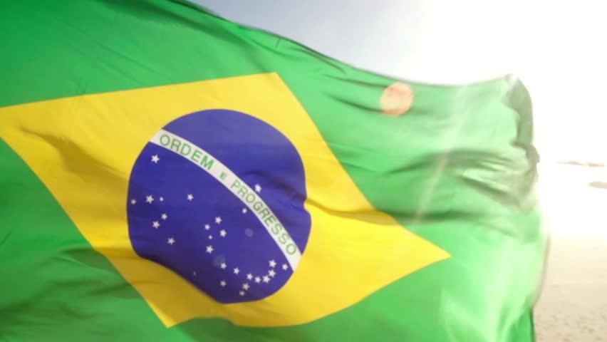 Brazilian Flag waving in wind in slow motion