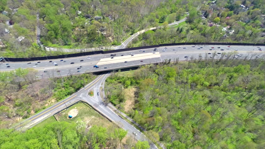 Aerial video of Interstate 95 in Washington DC