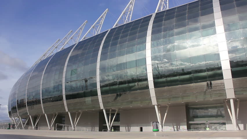 Fortaleza, Ceara, Brazil - circa March 2014: lateral view of stadium, glass reflective cover | Shutterstock HD Video #6215897