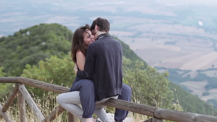 Loving Couple Kissing Sitting On Stock Footage Video 100