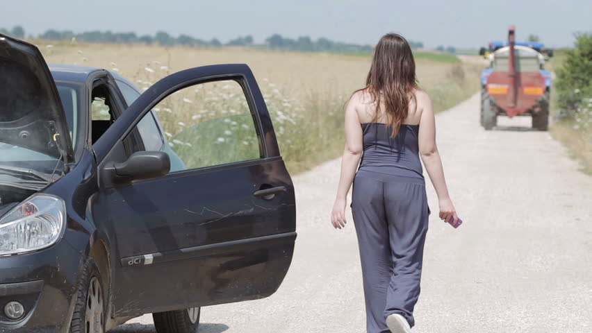 Woman With The Broken Down Car On A Country Road Call Seek Istence
