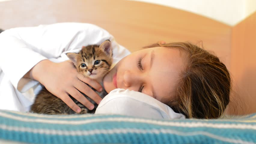 girl with striped kitten meows lie on the bed