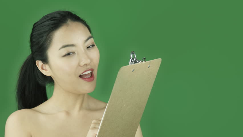 Asian girl naked beauty young adult isolated greenscreen green background checklist happy