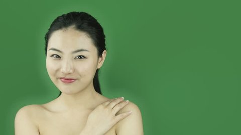 Asian girl naked beauty young adult isolated greenscreen green background secret
