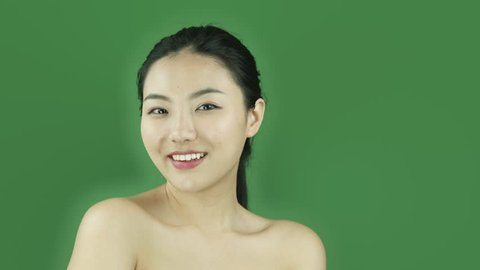 Asian girl naked beauty young adult isolated greenscreen green background flirty