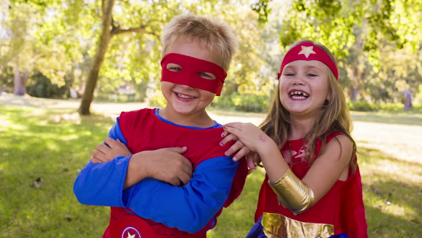 Happy superhero children