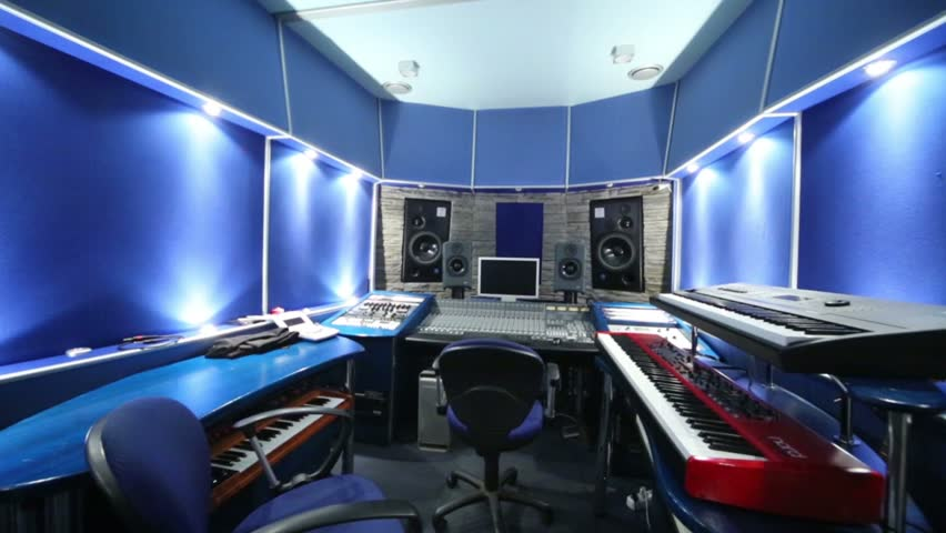 Control Room With Music Equipment In Recording Studio