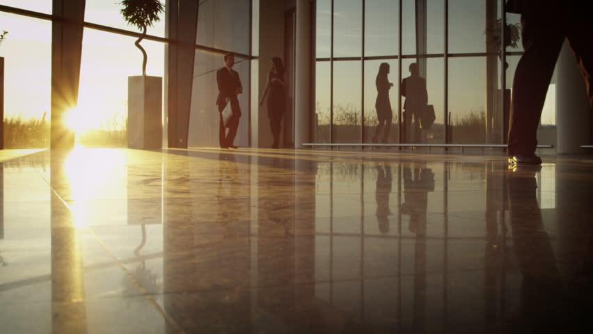 Diverse business group walking through modern office building at sunset | Shutterstock HD Video #6285749