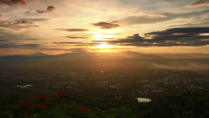 time lapse of Chiang mai province of northern Thailand in viewpoint sunset with beautyful cloudy day