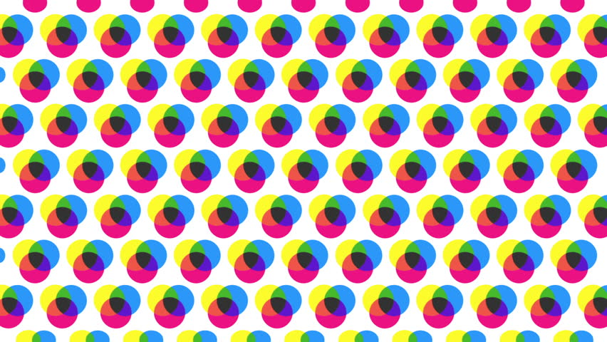 Minimalistic abstract half tone transitions made up of primary colours.