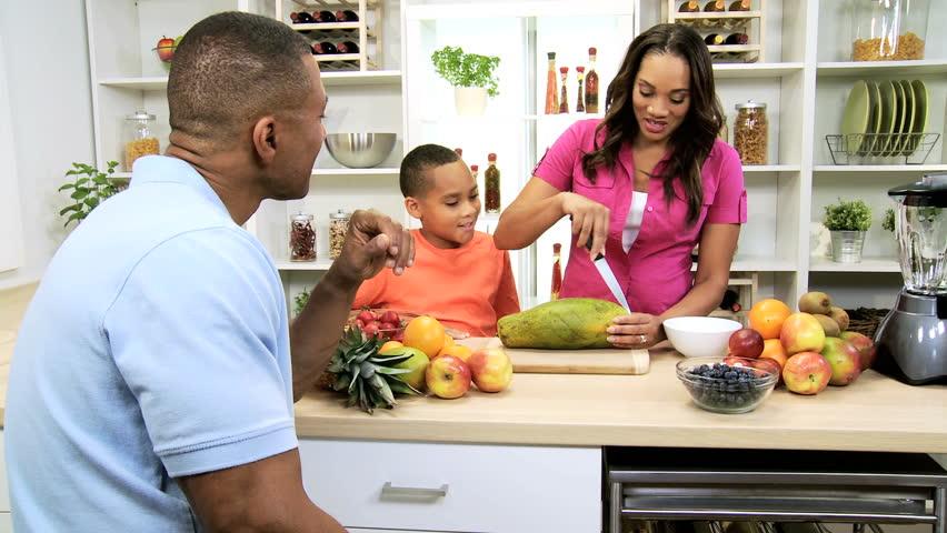 Fresh Organic Fruit Modern African American Family