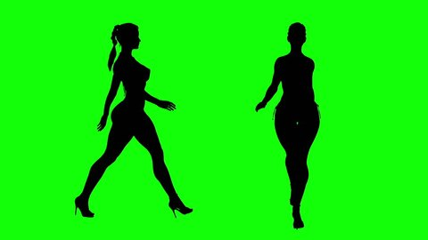 Fashion model girl, sexy figure high heel walking.  One is walking towards the camera and other walking on profile shot in greed background with silhouette.