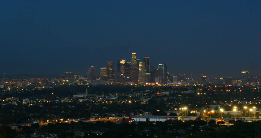 LA Night Skyline 03 Downtown | Shutterstock HD Video #6375437