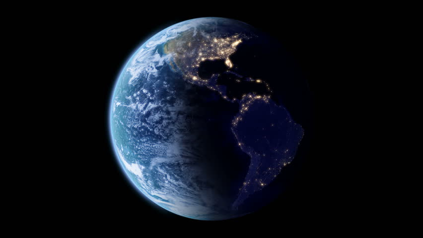 4K Slowly rotating Earth with night lights, seamless looped 3d animation