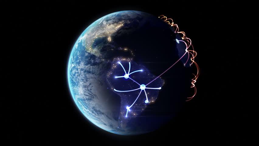4K Growing network across the world. beautiful 3d animation, seamless loop   Shutterstock HD Video #6454841