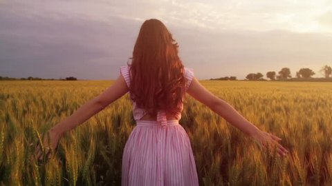 Elegant Beauty Woman Vintage Style Walking Wheat Filed Slow Motion