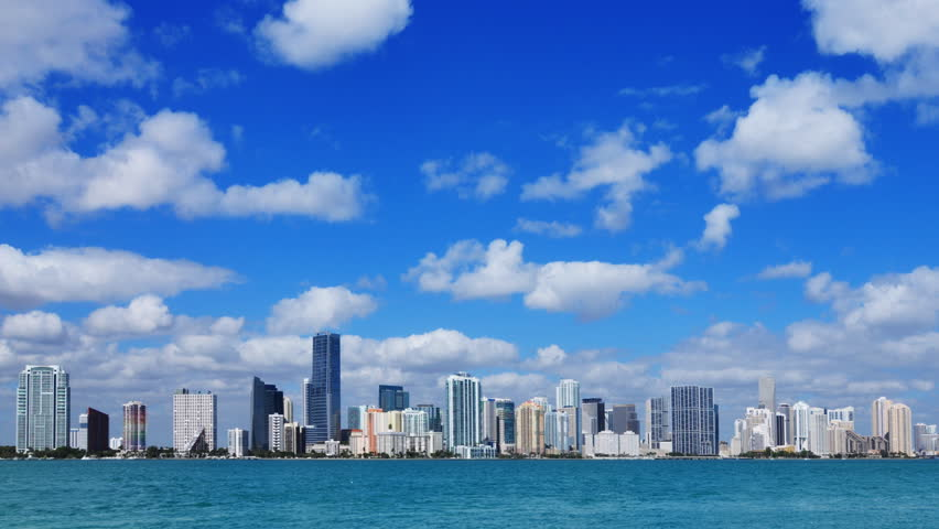 Miami skyline - time lapse on a beautiful sunny day in South Florida - tighter crop