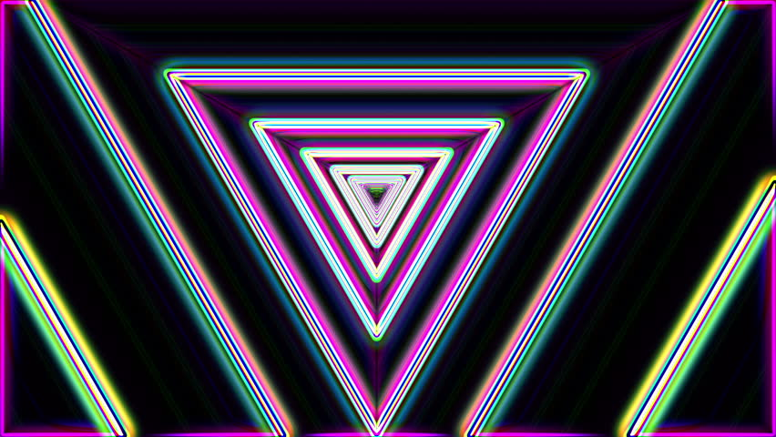 Neon lights vintage triangles tunnel loop - 1080p Use for backgrounds, transition and texture