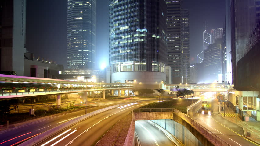 Cityscape timelapse at night. Hong Kong. Busy...