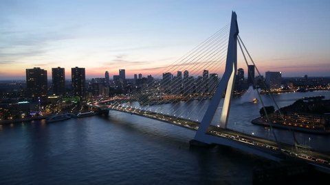 Timelapse of the skyline of Rotterdam, the Netherlands, with the Erasmus bridge. Also available in 4K.