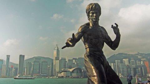 HONG KONG - SEPTEMBER 12, 2013: Statue of Bruce Lee, a Kung Fu Hero icon. Shot in Avenue of the Stars, Tsim Sha Tsui, Kowloon, Hong Kong.