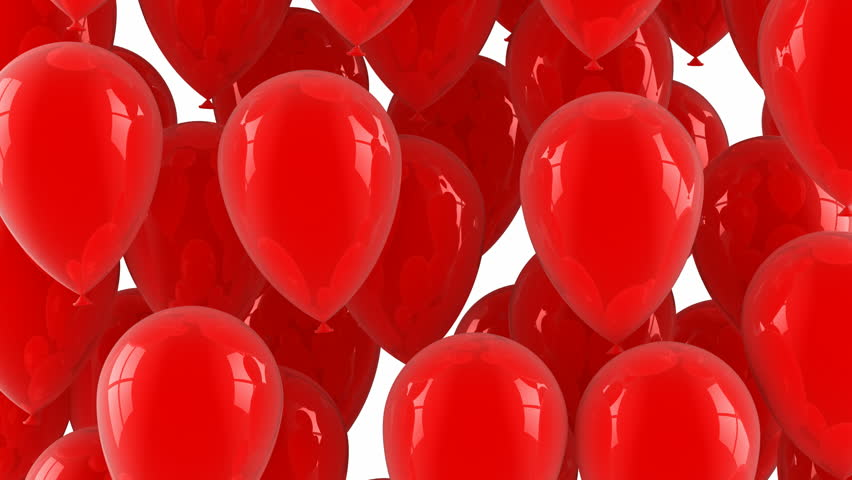Red balloons fly up. White background