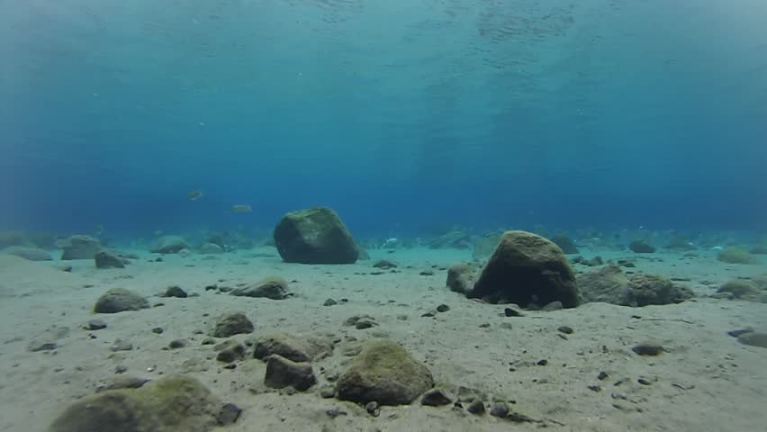 Underwater Scenery Natural Swimming Pool, rocks, sands, and fish. Circa May 2014 at Klaten, Central Java.