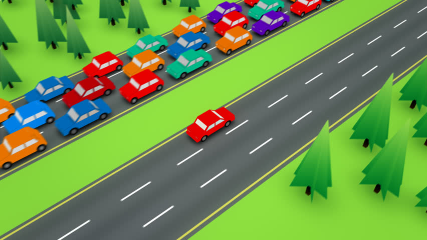 Loopable following shot of a red car travelling in the empty side of a divided highway while the other direction has bumper to bumper traffic. | Shutterstock HD Video #6583097