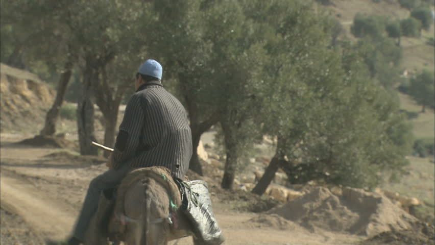 A poor farm worker riding a donkey on a dusty mountain path in a third world country.