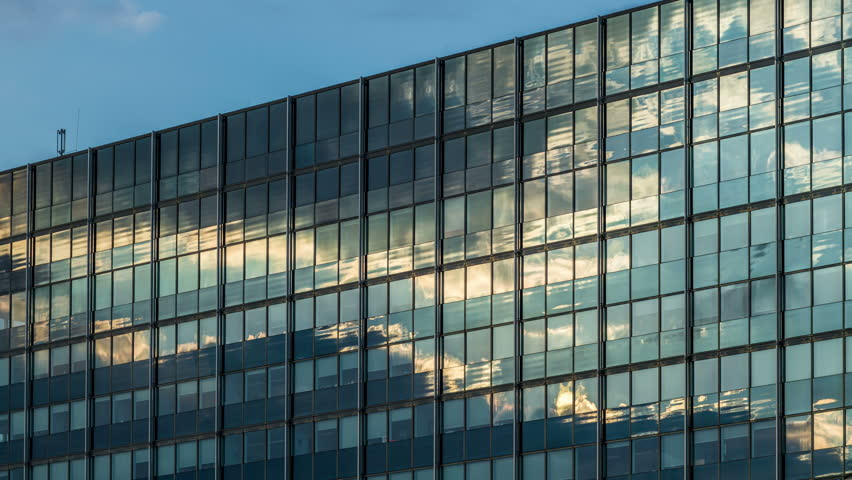 Clouds reflection on a glass facade - modern office Building - Hamburg - DSLR time lapse   Shutterstock HD Video #6593327