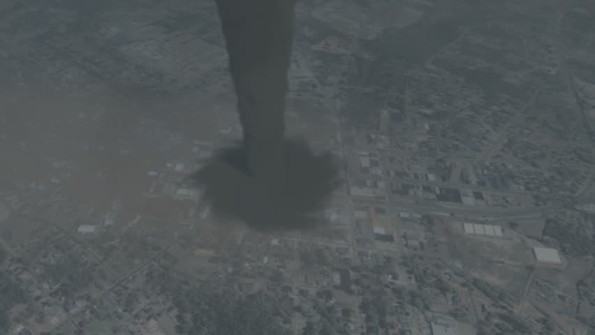 Huge Tornado Destroys City (CGI).  Highly-detailed, quality 3D animation created in MAYA.