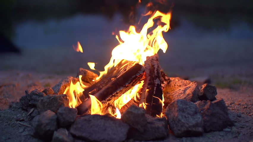 Close up of campfire burning in slow motion 200fps