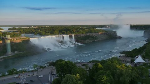 A time lapse day to dusk shot of Niagara Falls.