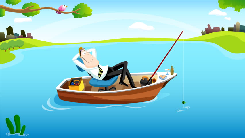 Fishing Time for Businessman #2. Stock Footage Video (100% ...