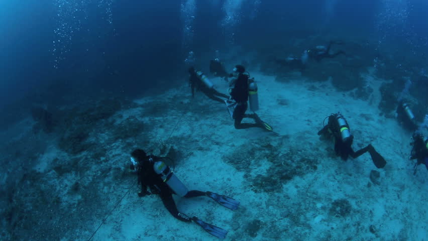 MALAPASCUA ISLAND, PHILIPPINES - JUN 01: Scuba divers lined up behind rope on the lookout for thresher sharks on June 1, 2014 in Malapascua Island, Philippines | Shutterstock HD Video #6696302
