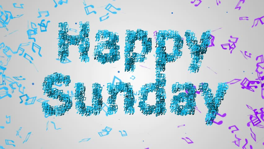 Happy Sunday Musical Note Blue Stock Footage Video (100
