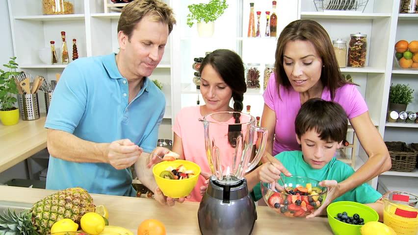 Parents Are Making Their Children Drink >> Caucasian Children Parents Preparing Fresh Stock Footage Video