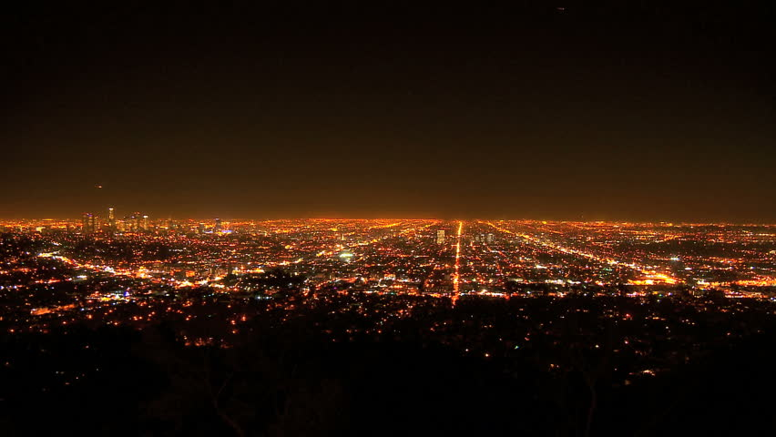Time-lapse of Los Angeles city landscape at night