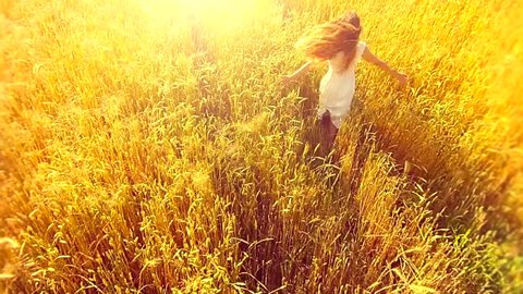 Beauty girl running on yellow wheat field. Freedom concept. Happy woman outdoors. Harvest. Aerial flight over the wheat field in sunset. Video footage 1080. Aerial shot