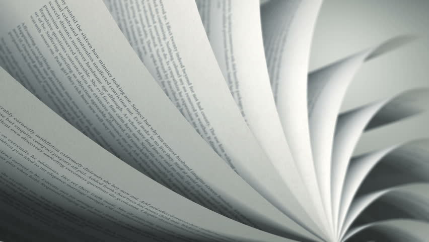 Turning Pages (Loop) English Book. Pages with random English words / sentences. Seamless Loop, depth of field.