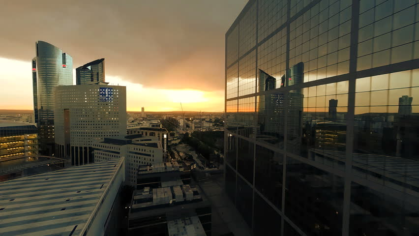 Aerial shot of modern buildings. city cityscape. skyline. reflection. sunset night  | Shutterstock HD Video #6788377