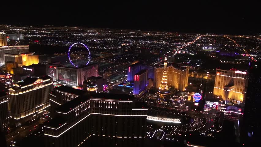 "Aerial Vegas Bellagio Fountains, Paris Hotel, and High Roller ""Observation Wheel""