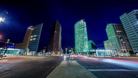 Potsdamer Platz wide angle traffic night time lapse, Berlin, Germany