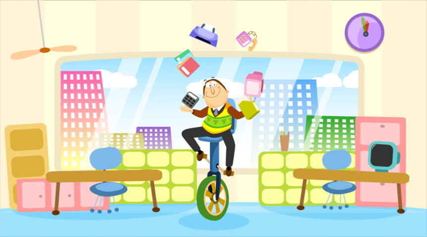 An employee riding a unicycle doing many things at once. NTSC Loopable. | Shutterstock HD Video #683257