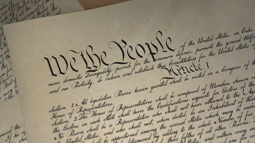 U.S. Constitution and feather pen, Declaration of Independence
