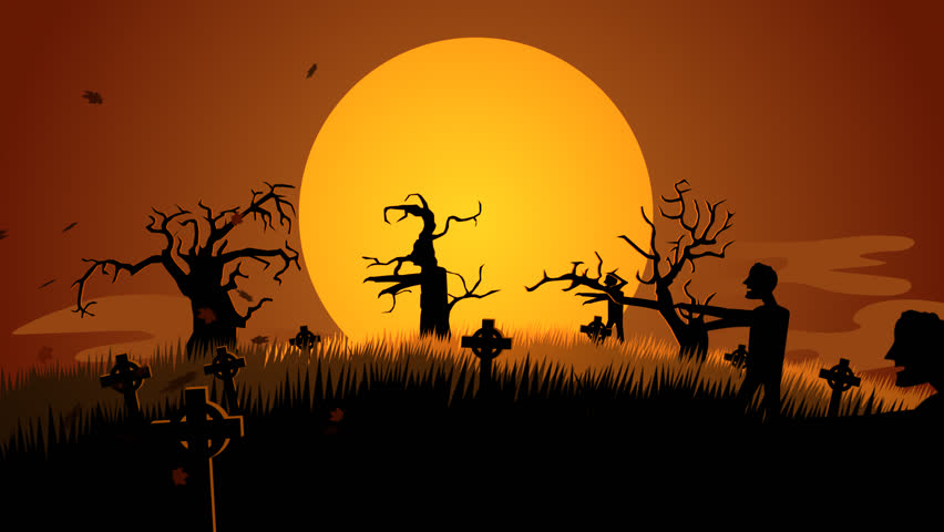 01604 Silhouette Of Creepy Zombie Walking At Spooky Graveyard Against Moonlight | Shutterstock HD Video #6864067