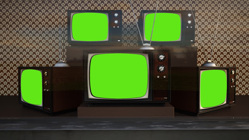 01559 Exhibition Of Old Retro Color Tv Sets With Antenna Green Screen | Shutterstock HD Video #6864157